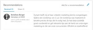 Aanbeveling LinkedIn training-social selling-Virtual Professional