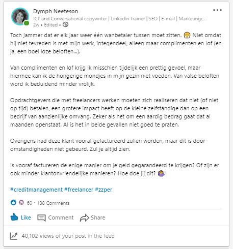 Screenshotoze van een boos klinkende LinkedIn-post over een wanbetalende klant