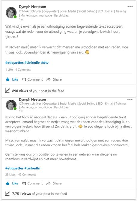 Screenshots van een laf klinkende LinkedIN-post en een stellige