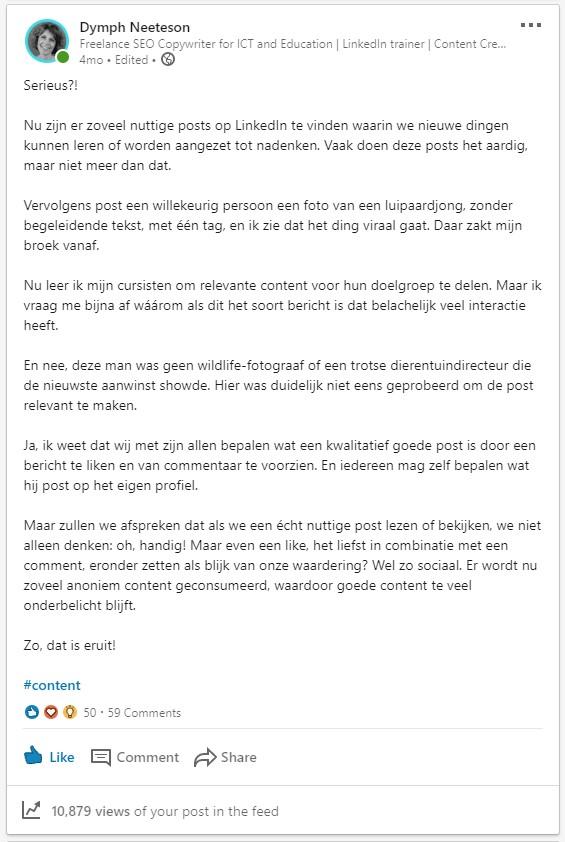 Screenshot van een verontwaardigd klinkende LinkedIn-post
